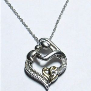 Jewelry - Sterling, 14k & Diamond Mother and baby Necklace